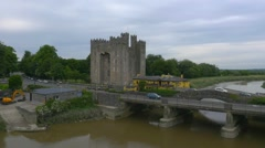 Aerial view of Bunratty Castle, Co. Clare Stock Footage