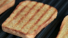 Electric grill fry bread for sandwich Stock Footage