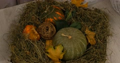Ripe pumpkin pile on the hay for decoration in the countryside farm Stock Footage