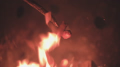 Hot Dogs Roasting Over Camp Fire Cooking Slowmo Stock Footage