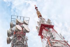 Telecommunication mast TV antennas wireless technology Stock Photos