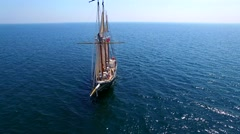 Tall ship at sea, majestic vessel sailing in deep blue waters Stock Footage