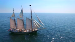 Tall ship at sea, majestic vessel sailing in open waters Stock Footage