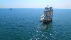 Tall ships at sea, majestic vessels sailing in open waters, fair weather Stock Footage