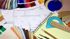 Color samples of architectural materials and architectural drawings Stock Footage