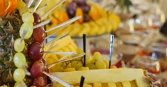 Authentic buffet, assorted fresh fruits, berries and citrus fruits Stock Footage