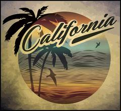 California beach Surf club concept Vector Summer surfing retro badge. Surfer - stock illustration
