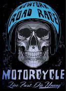 Tee skull motorcycle graphic design - stock illustration