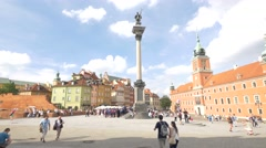 Old Town and King's Castle in Warsaw Stock Footage