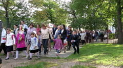 students of different classes in the school dress greeted the Day of Knowledge - stock footage