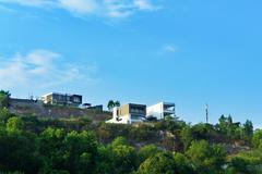 Beautiful modern two villas on the hill. landscape. Stock Photos