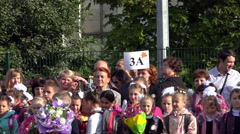 celebration of Knowledge September 1st, together with teachers and parents and - stock footage