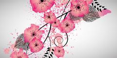 Sweet flowers banner Stock Illustration