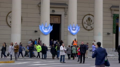 Entrance of Buenos Aires Cathedral in May square. Stock Footage