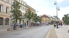 Krakowskie Przedmiescie - The promenade of Warsaw, August 2016 Stock Footage