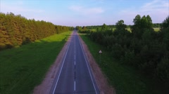 Asphalt straight road Stock Footage