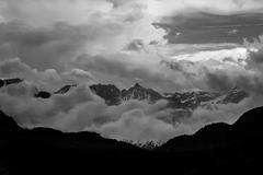 Mountain landscape in black and white contrasted dramatically surreal and abs - stock photo