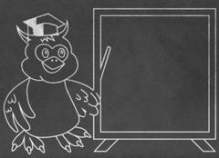 Wise owl teacher on chalkboard - stock illustration