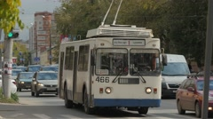 Electrical russian bus white Ivanovo 4K Stock Footage