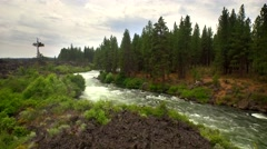 Aerial view of Oregon whitewater rapids next to forest 3 Stock Footage