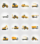 Automobile transport for repair and construction flat icons vector illustrati Stock Illustration