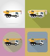 Truck crane for construction flat icons vector illustration Stock Illustration