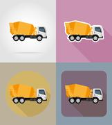 Truck concrete mixer for construction flat icons vector illustration Stock Illustration