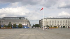Polish flag on the square in Warsaw Stock Footage