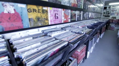Record Store Walk Around Stock Footage