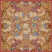 Decorative color floral background, strawberry pattern and ornate lace frame Stock Illustration
