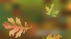 Moody autumn video, falling leaves of maple and oak on green blurred background. Stock Footage