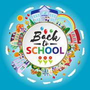 Back to school round banner. Circle frame with children, going to school. Flat Piirros
