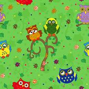 Funny colourful owl seamless pattern over green - stock illustration