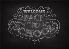 Back to school. Lettering on chalkboard. Eps10. Ornate chalk pattern Stock Illustration