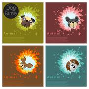 Cute animal family background with Dogs Stock Illustration