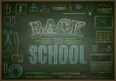 Back to school sale or banner background with stationery. Chalk. Vector Stock Illustration