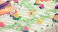 Decorated children's birthday cake Stock Footage