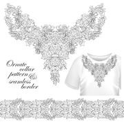 Neckline embroidery fashion, print, decor, lace, paisley, stock vector. Luxury - stock illustration