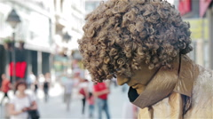 Golden guy in the street Stock Footage