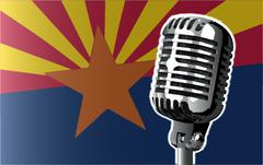 Arizona Flag And Microphone Stock Illustration