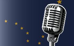 Alaska Flag And Microphone Stock Illustration