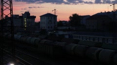 Night railway station in Russian city (with sound) Stock Footage