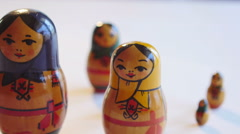 Close up of Matryoshka Doll on a white background in 4k Stock Footage