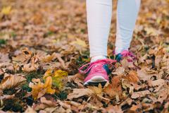 Female feet in jeans and pink sneakers walking on fallen autumn leaves Stock Photos