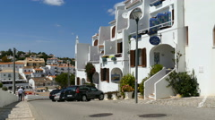 Down hill street in Carvoeiro Stock Footage