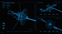 Looping, orthographic view of rotating wireframe model of Voyager spacecraft. Stock Footage
