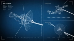 Looping, animated orthographic engineering blueprint of Voyager spacecraft. Stock Footage