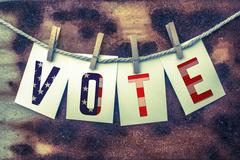Vote Concept Pinned Cards and Rust Stock Illustration