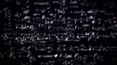 Physical science formulas flying around. Stock Footage