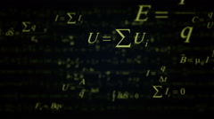 Green Physics and Mathematics formulas zoom in. Stock Footage